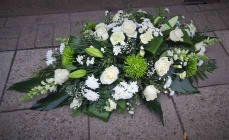 Casket spray WHITE AND GREEN