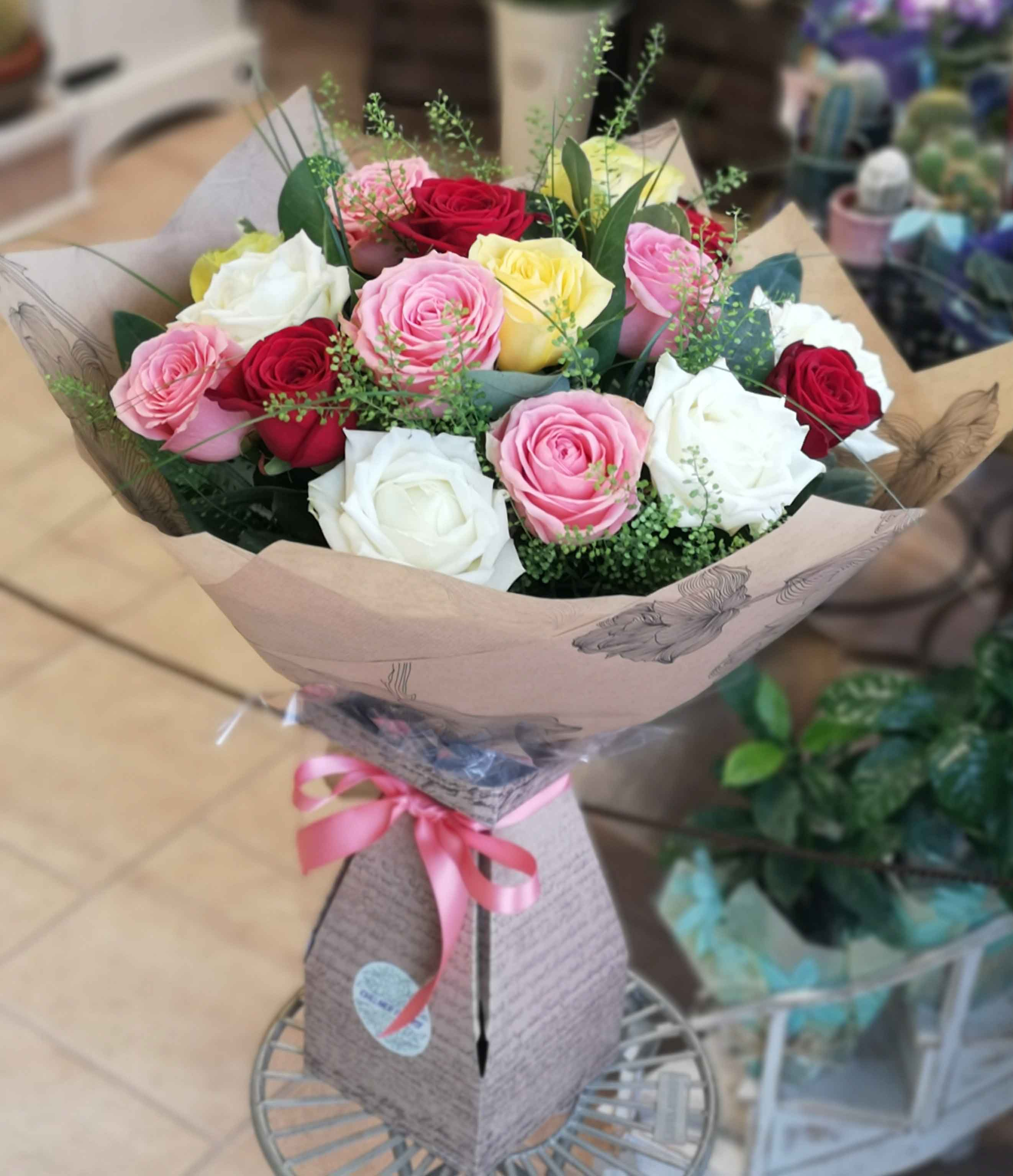 Mixed roses hand-tied