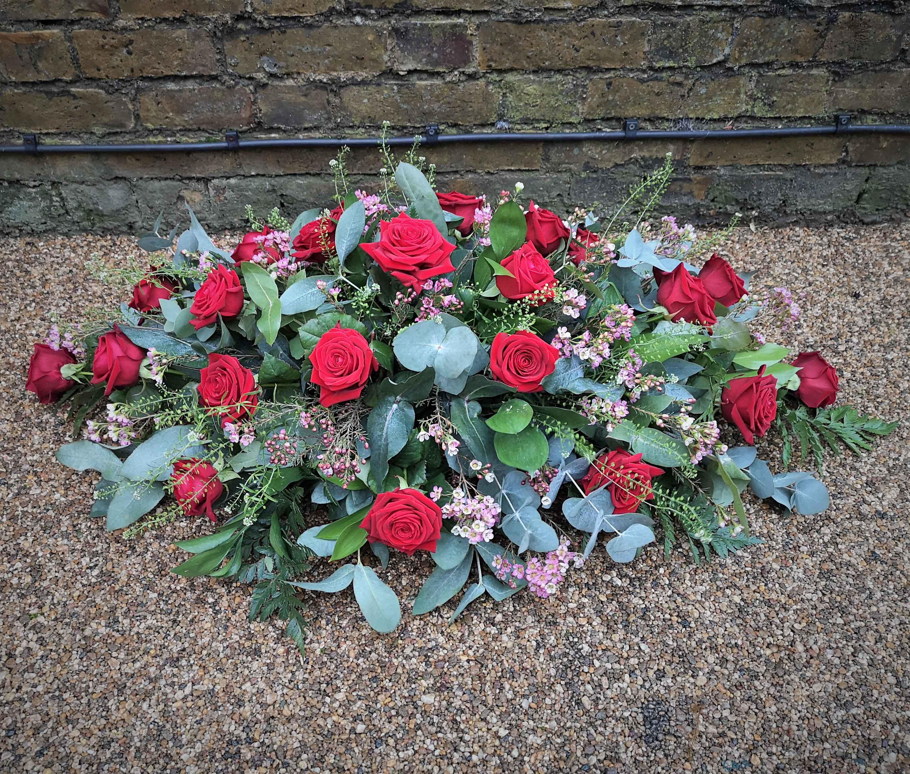 Casket Spray Roses and foliage