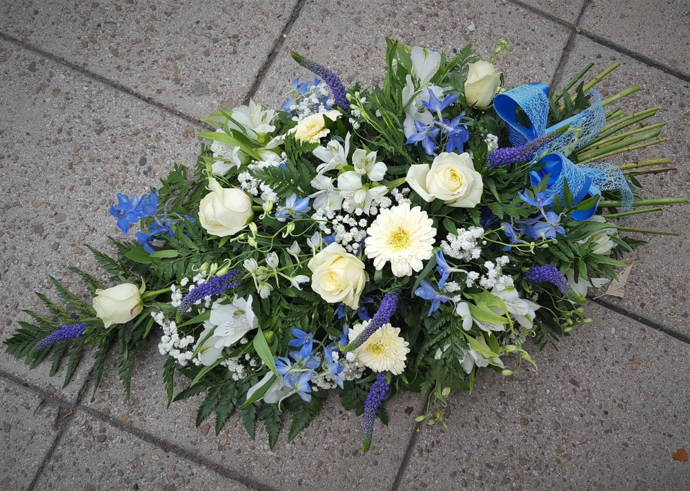 Funeral spray Blue and White