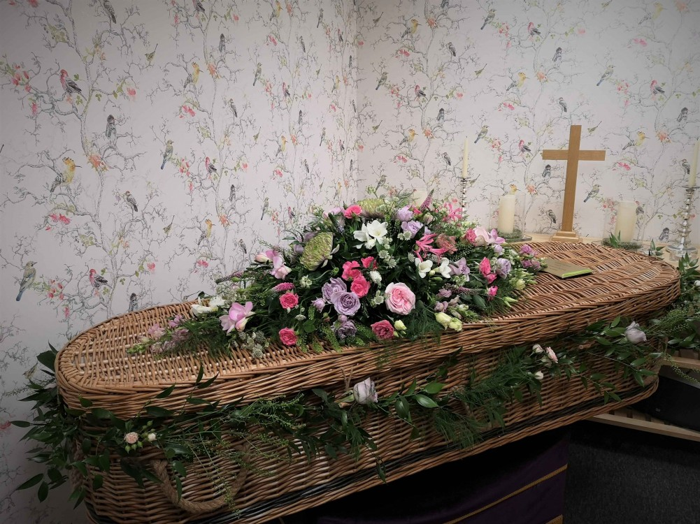 Casket spray PINK AND LILAC