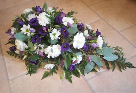 Funeral spray Purple and White