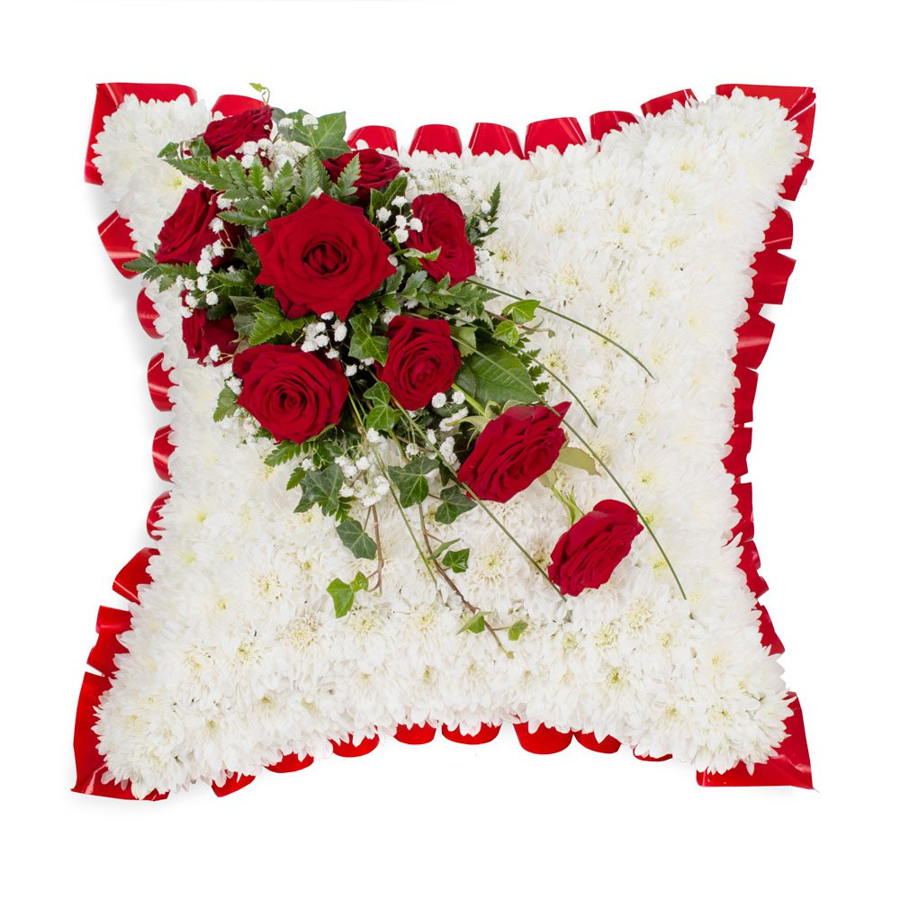 Cushion with Red Rose Spray