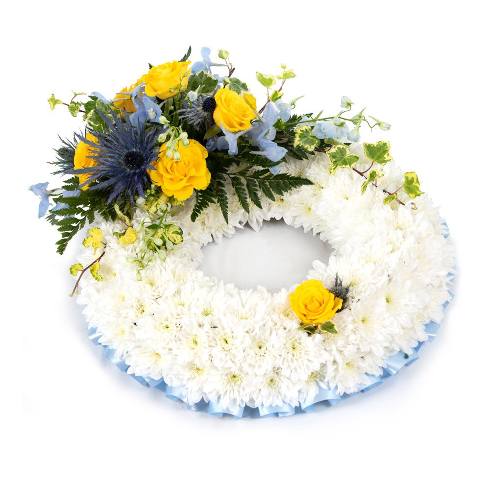 Massed Wreath Blue & Yellow